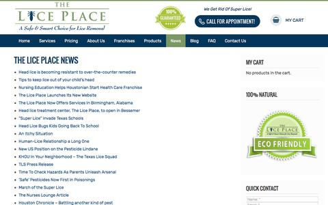 Screenshot of Press Page theliceplace.com - The Lice Place - News - captured Sept. 7, 2019