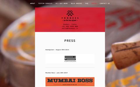 Screenshot of Press Page foodees.in - Press — Foodees - captured Sept. 30, 2014