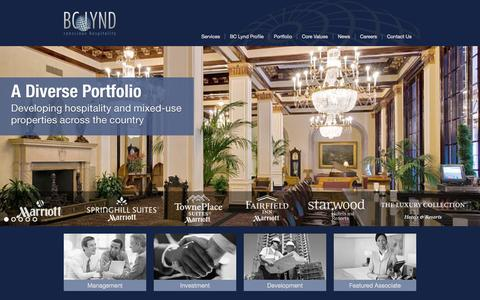 Screenshot of Home Page bclynd.com - BC Lynd Hospitality - captured Oct. 4, 2014