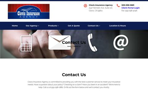 Screenshot of Contact Page clovisinsuranceagency.com - Contact Us - Clovis Insurance Agency - captured July 19, 2018