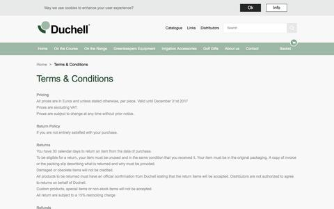 Screenshot of Terms Page duchell.com - Terms & Conditions |  Duchell - captured Oct. 13, 2017