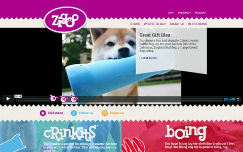 Screenshot of Home Page zigoopets.com - Zigoo Pets | Dog Toy Manufacturer. Crinkits, Boing, and Veggout!Zigoo Pets - captured Oct. 7, 2014