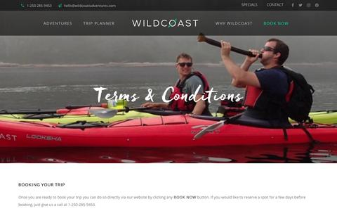 Screenshot of Terms Page kayakbritishcolumbia.com - Terms & Conditions - Wildcoast - captured Oct. 18, 2018