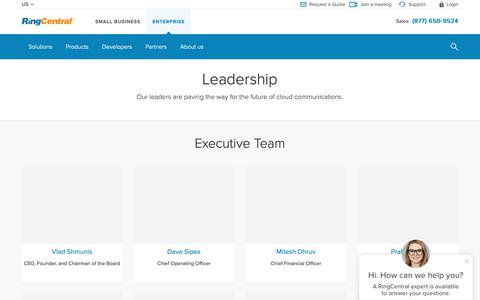 Screenshot of Team Page ringcentral.com - Meet our executive team | RingCentral - captured May 11, 2019