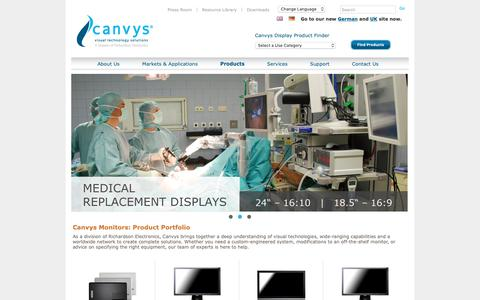 Screenshot of Products Page canvys.com - Canvys Products - Visual Technology Products - captured Sept. 26, 2018