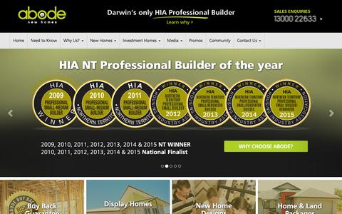 Screenshot of Home Page newabode.com.au - Darwin's Best Home Builder | Abode New Homes | Home Builder Darwin - captured Feb. 5, 2016