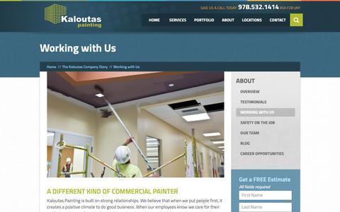Screenshot of Jobs Page kaloutas.com - Working with Us |  Kaloutas Painting - captured Sept. 28, 2018