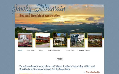 Screenshot of Home Page smokymountainbb.com - Smoky Mountain Bed and Breakfast Association in Tennessee - captured June 18, 2016