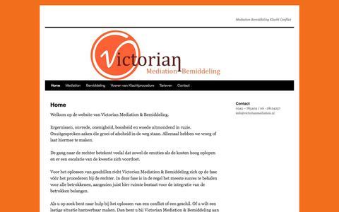 Screenshot of Home Page victorianmediation.nl - | Mediation Bemiddeling Klacht Conflict - captured Oct. 7, 2014