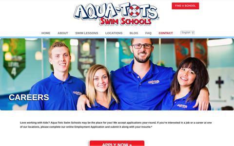 Screenshot of Jobs Page aqua-tots.com - Aqua-Tots | Want To Start a Career With Aqua-Tots? - captured Oct. 4, 2018