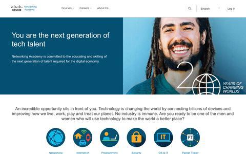 Screenshot of Home Page netacad.com - Networking Academy   - captured April 23, 2018