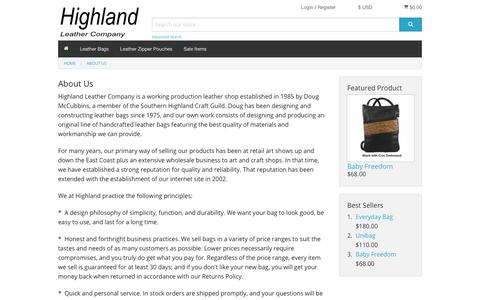 Screenshot of About Page highlandleather.com - About Us - Handmade Leather Bags by Highland Leather Co. - captured Dec. 3, 2018