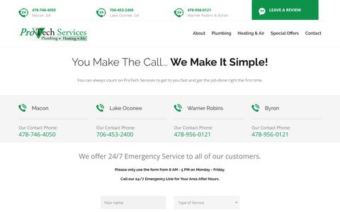 Screenshot of Contact Page protechservicesga.com - Contact ProTech Today! Your Experts in Plumbing, Heating & Air Systems - captured June 10, 2019