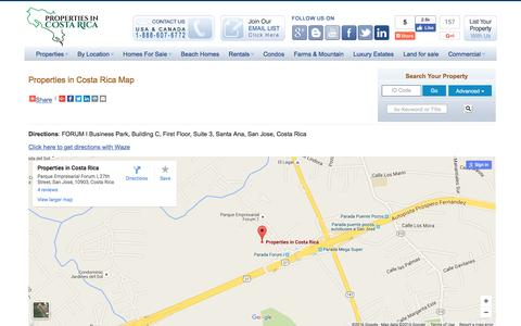 Screenshot of Maps & Directions Page propertiesincostarica.com - Properties in Costa Rica - Real Estate and Investment Company - captured July 16, 2016