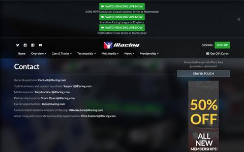 Screenshot of Contact Page iracing.com - Contact     iRacing.com Motorsport Simulations - captured Jan. 13, 2016