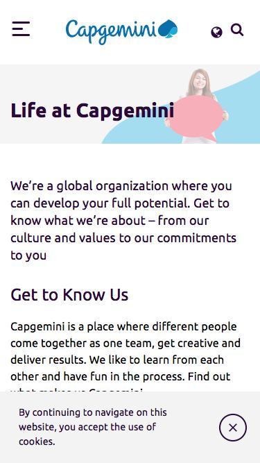 Screenshot of Jobs Page  capgemini.com - Life at Capgemini – Capgemini India