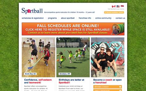 Screenshot of Home Page sportball.us - Sportball — Noncompetitive sports instruction for children 16 months – 12 years old! - captured Sept. 30, 2014