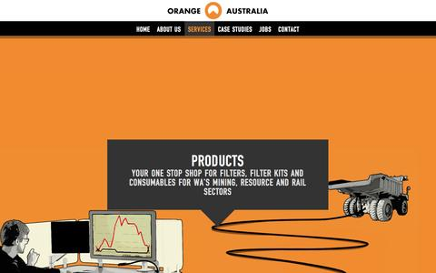 Screenshot of Products Page orangeaustralia.com.au - Mining Filters WA & Filter Kits WA for Resource & Rail sectors - captured Oct. 9, 2014