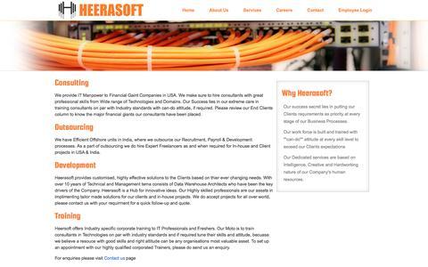 Screenshot of Services Page heerasoft.com - HEERASOFT - Services - captured Oct. 2, 2014