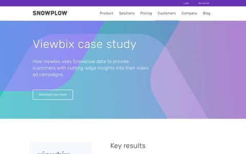 Screenshot of Case Studies Page snowplowanalytics.com - Snowplow | Viewbix Case Study - captured Feb. 10, 2020