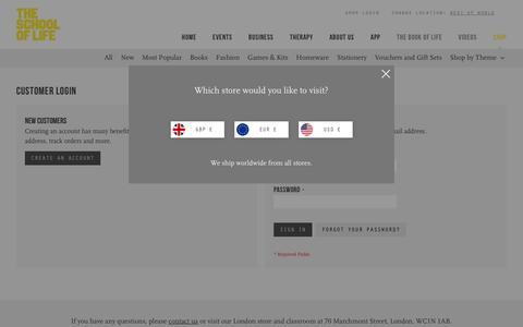 Screenshot of Login Page theschooloflife.com - Customer Login - captured Aug. 27, 2018