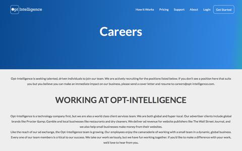 Screenshot of Jobs Page opt-intelligence.com - Careers - Opt-Intelligence - captured July 2, 2017