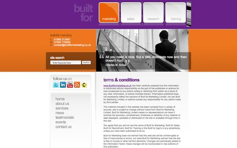 Screenshot of Terms Page builtformarketing.co.uk - Built For : Terms & Conditions - captured Sept. 30, 2014