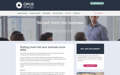 Screenshot of About Page opusenergy.com - About Opus Energy | UK's best commercial energy supplier - captured Dec. 2, 2016
