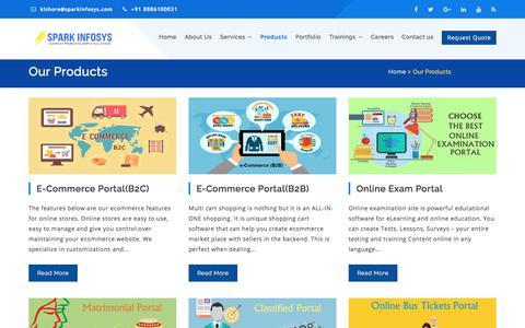 Screenshot of Products Page sparkinfosys.com - Ecommerce Website Development | Web Portal Development Company in Hyderabad - captured June 30, 2018