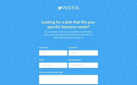 Get in touch about a Wistia Premium plan