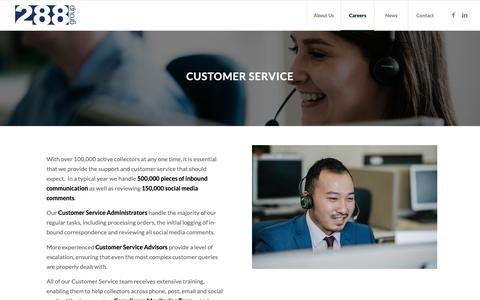 Screenshot of Support Page 288group.com - Customer Service Careers in Poole - Start yours today! -288 Group - captured Oct. 21, 2018