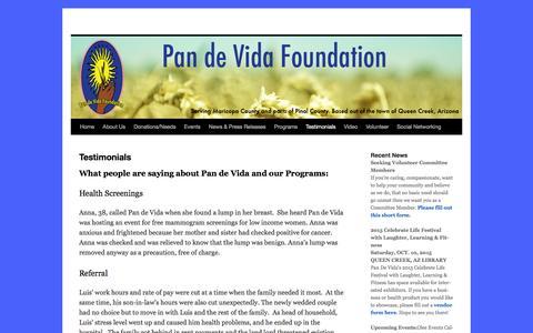 Screenshot of Testimonials Page pandevidaaz.org - Testimonials   - captured Jan. 25, 2016