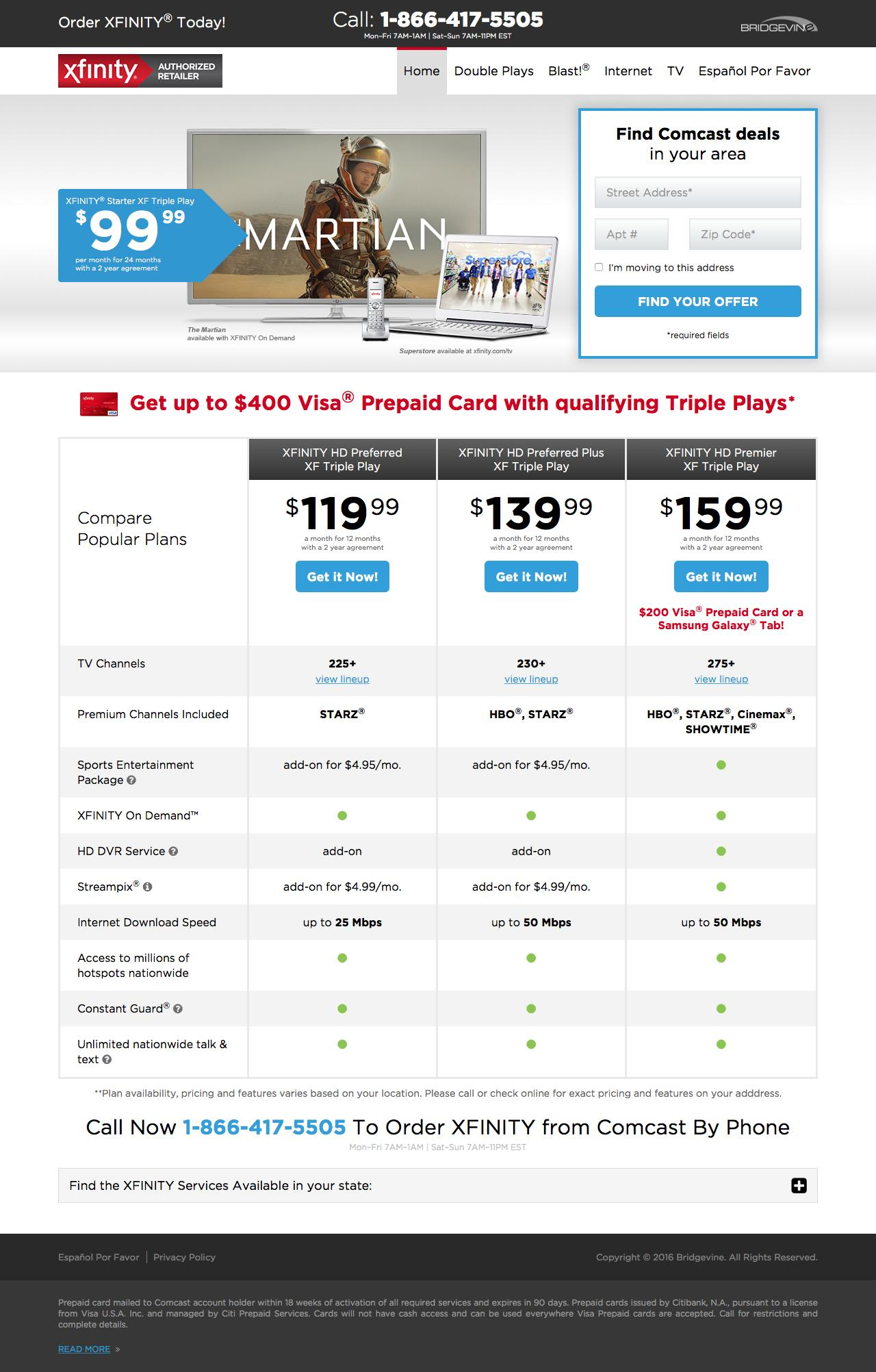 Comcast Internet Deals >> Web Design Example A Page On Xfinityspecial Com Crayon