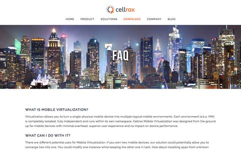 Screenshot of FAQ Page cellrox.com - FAQ — Cellrox - captured July 3, 2016