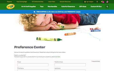 Screenshot of Signup Page crayola.com - sign-up | crayola.com - captured Oct. 28, 2014