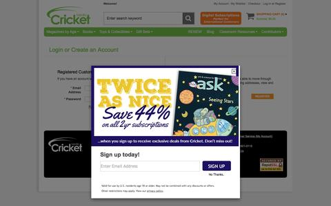 Screenshot of Login Page cricketmedia.com - Cricket | Shop Online for Kids Magazines, Kids Books, Kids Toys and Activities for Children Ages 6 Months – 14 Years + | Customer Login - captured Nov. 15, 2016