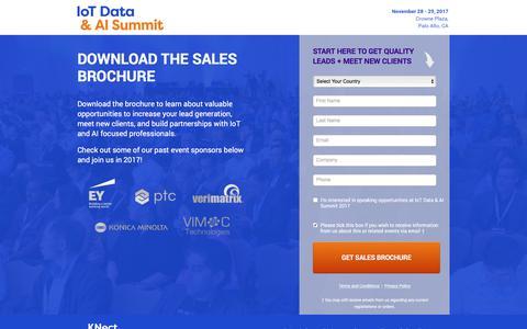 Screenshot of Landing Page knect365.com - Sales Prospectus | IoT Data & AI Summit - captured Oct. 1, 2017