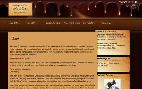 Screenshot of About Page newfoundlandchocolatecompany.com - About    Newfoundland Chocolate Company - captured Oct. 26, 2014