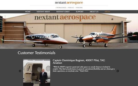 Screenshot of Testimonials Page nextantaerospace.com - Testimonials - Nextant Aerospace - captured Nov. 5, 2014