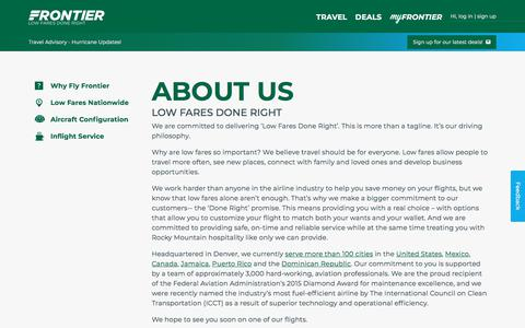 Screenshot of About Page flyfrontier.com - About Us | Frontier Airlines - captured Sept. 21, 2018