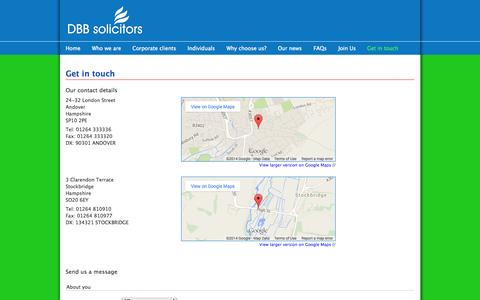 Screenshot of Contact Page dbbsolicitors.co.uk - Get in touch | DBB solicitors - captured Oct. 27, 2014