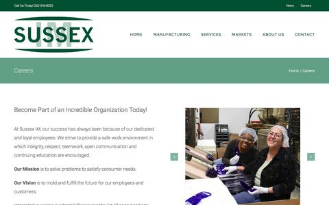 Screenshot of Jobs Page sussexim.com - Careers at Sussex IM | Plastics Manufacturing | Engineering Jobs - captured Sept. 21, 2018