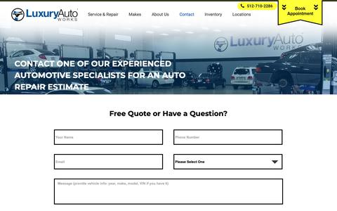 Screenshot of Contact Page luxuryautoworks.com - Contact Us for Auto Repair Estimates   Luxury Auto Works - captured Nov. 5, 2018