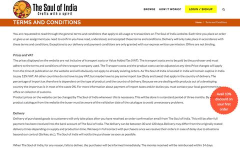 Screenshot of Terms Page thesoulofindia.com - Indian Products for Europe | TheSoulofIndia.com - captured Aug. 15, 2016
