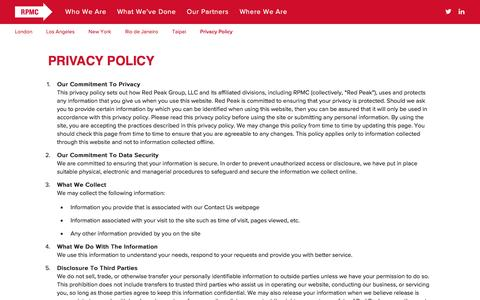 Screenshot of Privacy Page rpmc.com - Privacy Policy - RPMC - captured Feb. 22, 2016