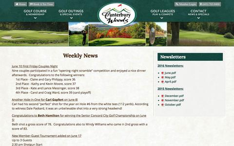 Screenshot of Press Page canterburywoodscc.com - Canterbury Woods Country Club | Public Golf Course | Canterbury, NH - Golf News & Blog - captured June 13, 2016