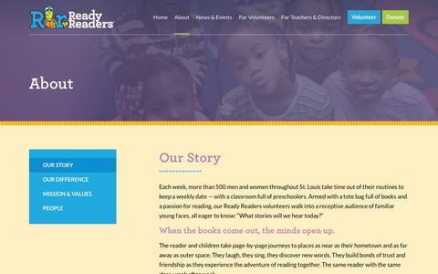 Screenshot of About Page readyreaders.org - Our Story – Ready Readers - captured Sept. 20, 2018
