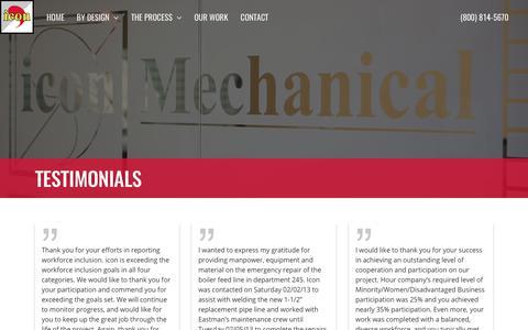 Screenshot of Testimonials Page iconmech.com - Testimonials – icon Mechanical - captured Oct. 16, 2017