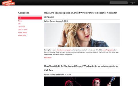 Screenshot of Blog concertwindow.com - Index | Concert Window - captured Feb. 8, 2016