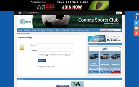 Screenshot of Login Page comets.org.uk - Website Administrator | Comets Sports Club - captured June 13, 2016
